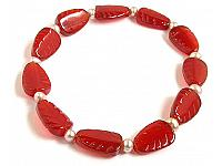 Red Agate and Pearl Bracelet