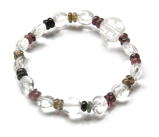 Clear Quartz Bracelet with Tourmaline