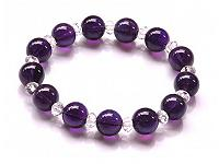 Amethyst and Clear Quartz Beads Bracelet