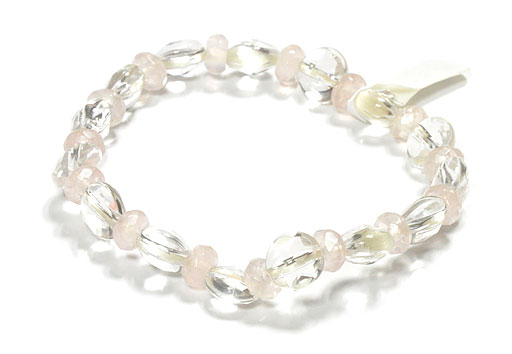 Clear Quartz Bracelet with Rose Quartz