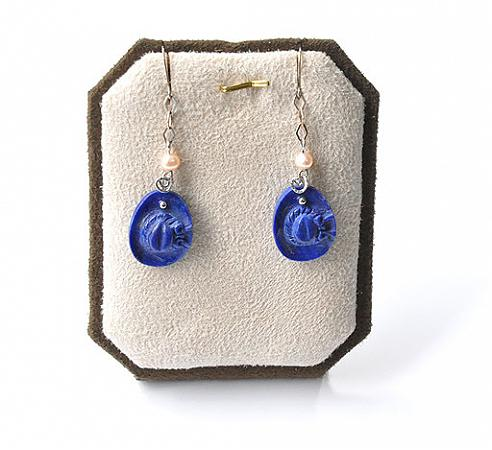Lapis Pearl Silver Earrings