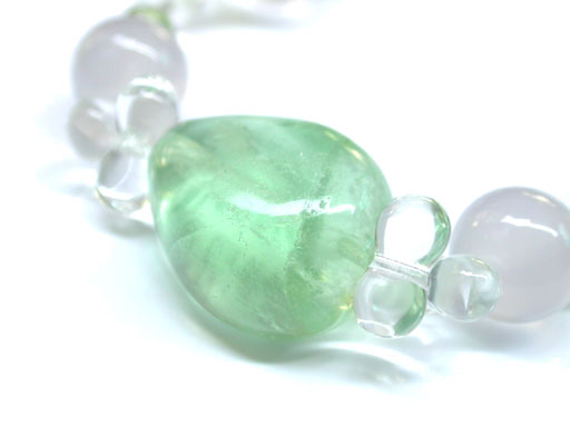 Fluorite Bracelet with Rose and Clear Quartz