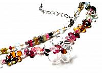 Genuine Tourmaline AAA faceted briolette Clear Quartz flower long necklace
