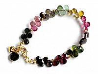 Genuine Tourmaline AAA Teardrop faceted briolette bracelet