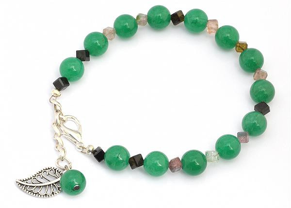 Aventurine Tourmaline and Silver Beads Bracelet