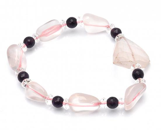 Rose Quartz Bracelet with Amethyst and Clear Quartz Faceted Beads