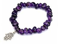 Amethyst Pebble and Silver Bracelet