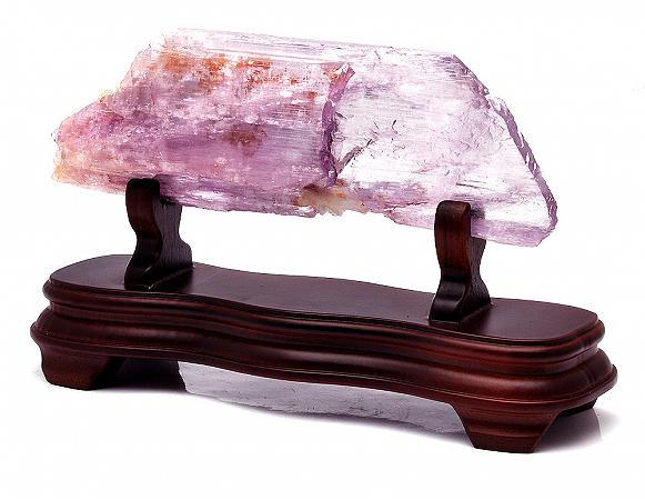 Beautiful Lilac kunzite Rock on Wooden Stand