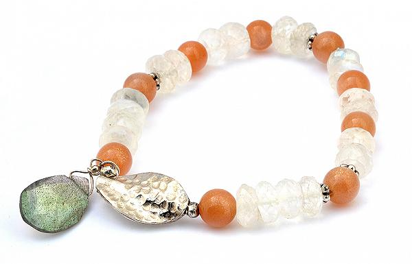 Sun Stone and Moon Stone Beads Bracelet with Labradorite and Silver Ornaments