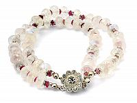 Moon Stone Pink Tourmaline Beads Bracelet with Silver Ornaments