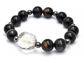 Blue Tiger Eye Bracelet with Silver Rutilated Quartz Bead