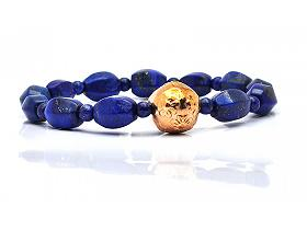 Lapis with Gold Bead Bracelet