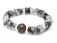 Black Rutilated Tourmaline and Smoky Quartz Bead Bracelet