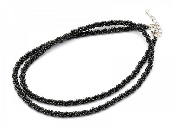 AAA 1.5mm Sparkle Black Faceted Spinel Necklace