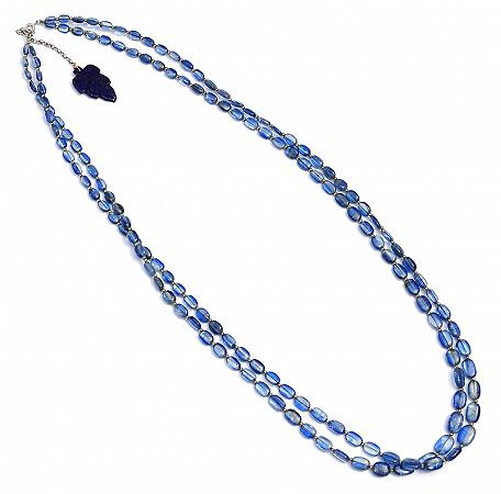 Blue Kyanite Necklace with Lapis Hanger