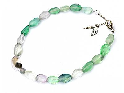 Fluorite Nuggets Necklace with Silver Clasp