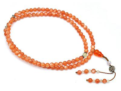 Sun Stone Beads Mala with Agate Kunzite and Beryl