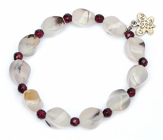 Agate Bracelet with Garnet beads