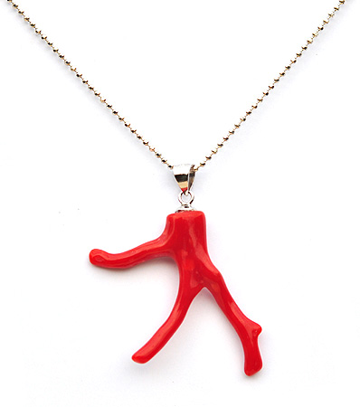 AKA Red Coral Pendant with 18inch 925 Silver Necklace