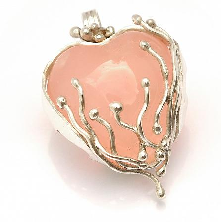 Rose Quartz Heart in 999 Fine Silver Pendant