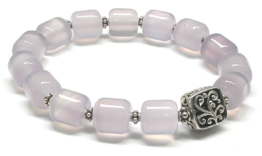Purple Agate and Silver Bracelet