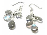Labradorite Faceted Teardrop Earrings