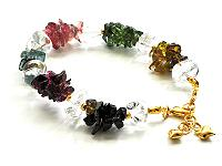 Irregular gravel Tourmaline and Clear Quartz Bracelet